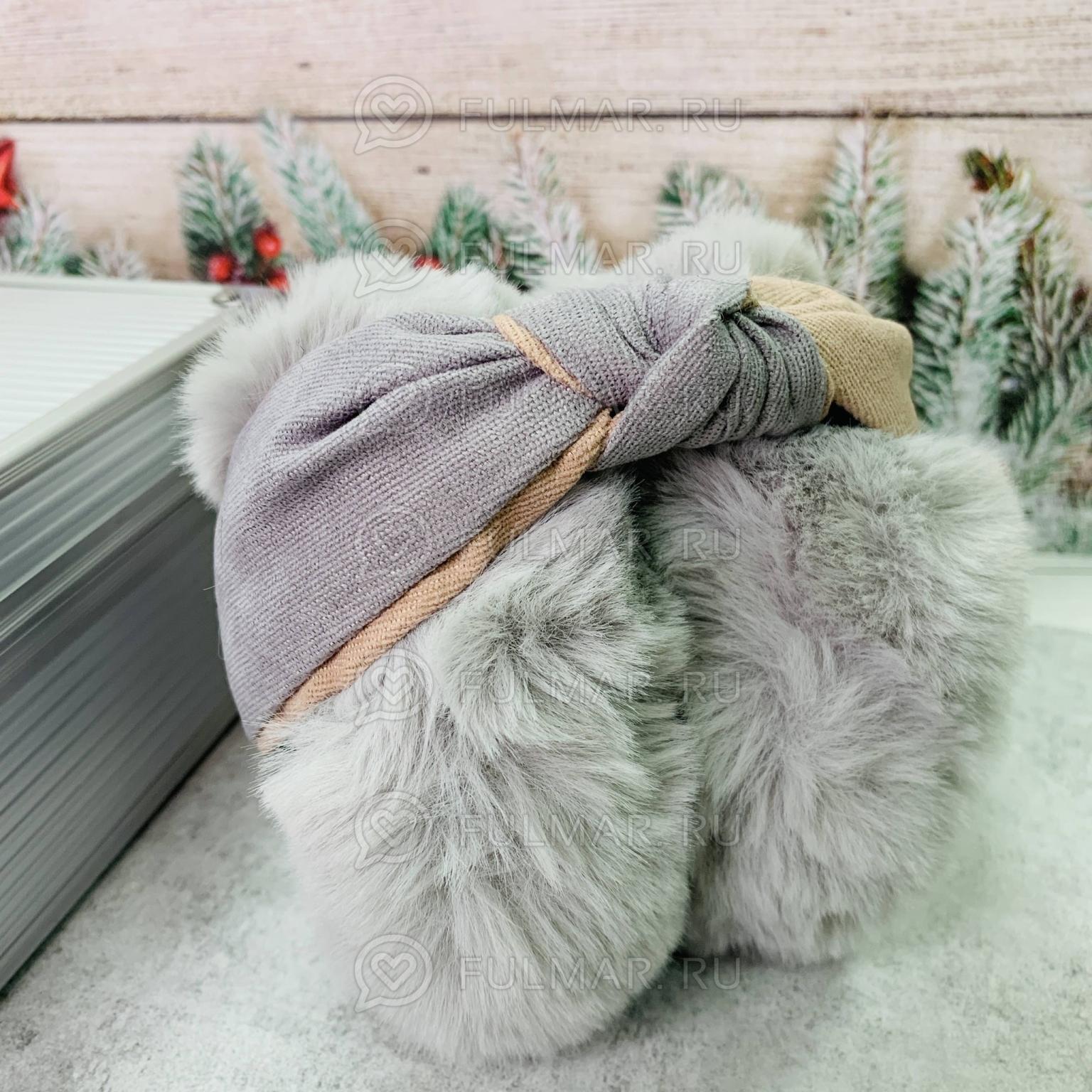 Наушники утеплённые складные с ободком-узлом цвет: Серый-Бежевый