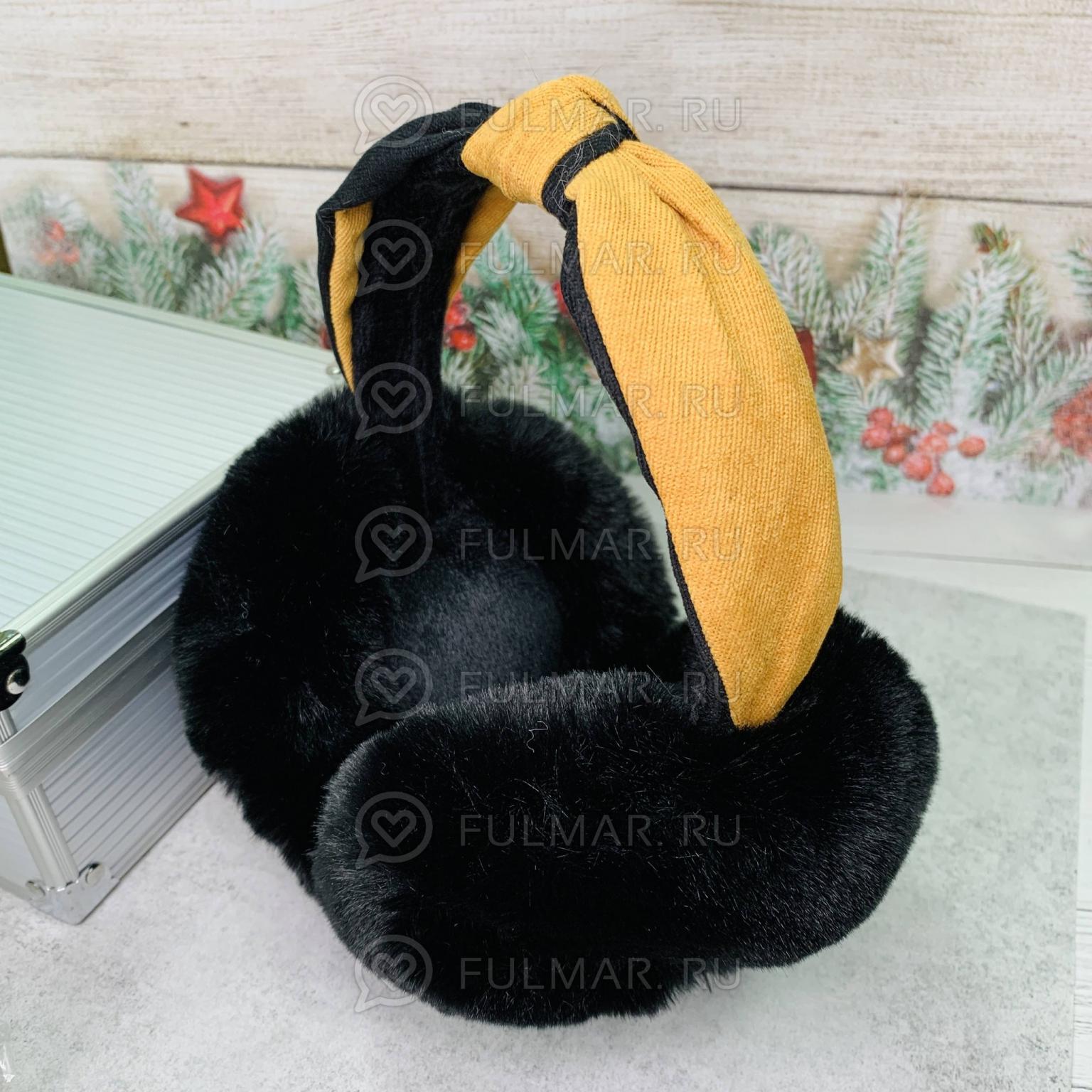 Наушники утеплённые складные с ободком-узлом цвет: Чёрный-Корочиневый
