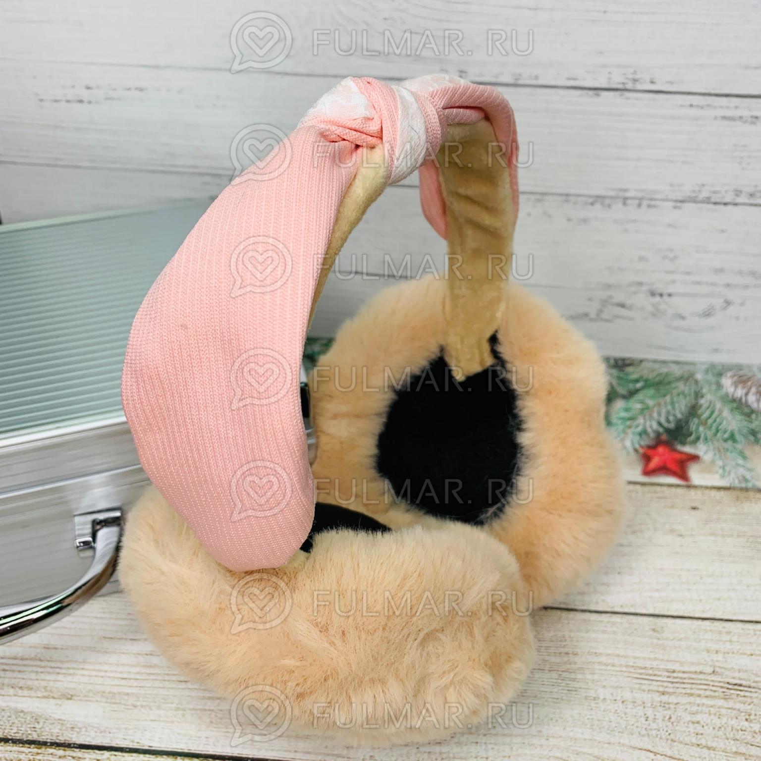 Наушники утеплённые складные с ободком-узлом Lolita цвет: Молочный-Розовый