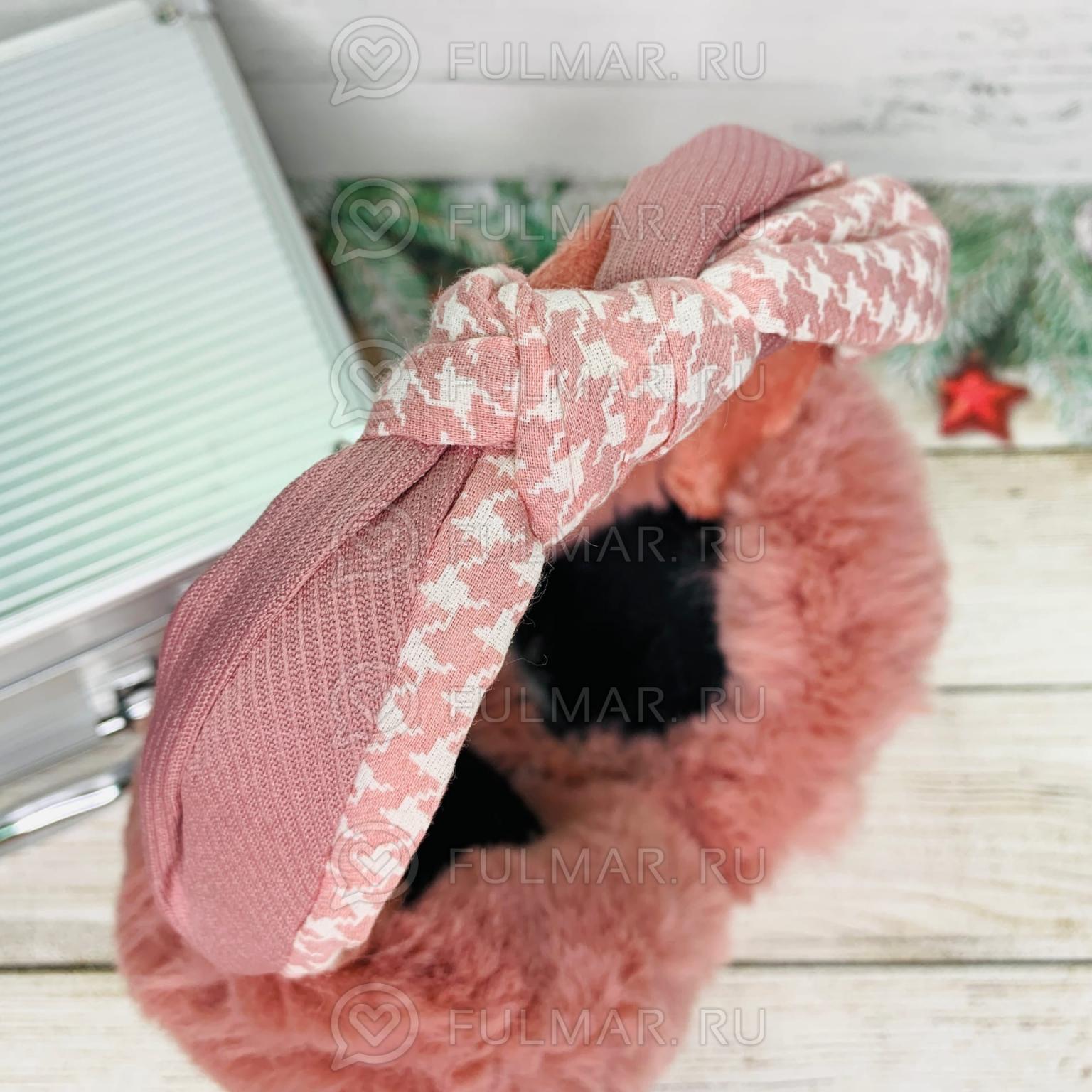 Наушники утеплённые складные Розовые с ободком-узлом Lolita