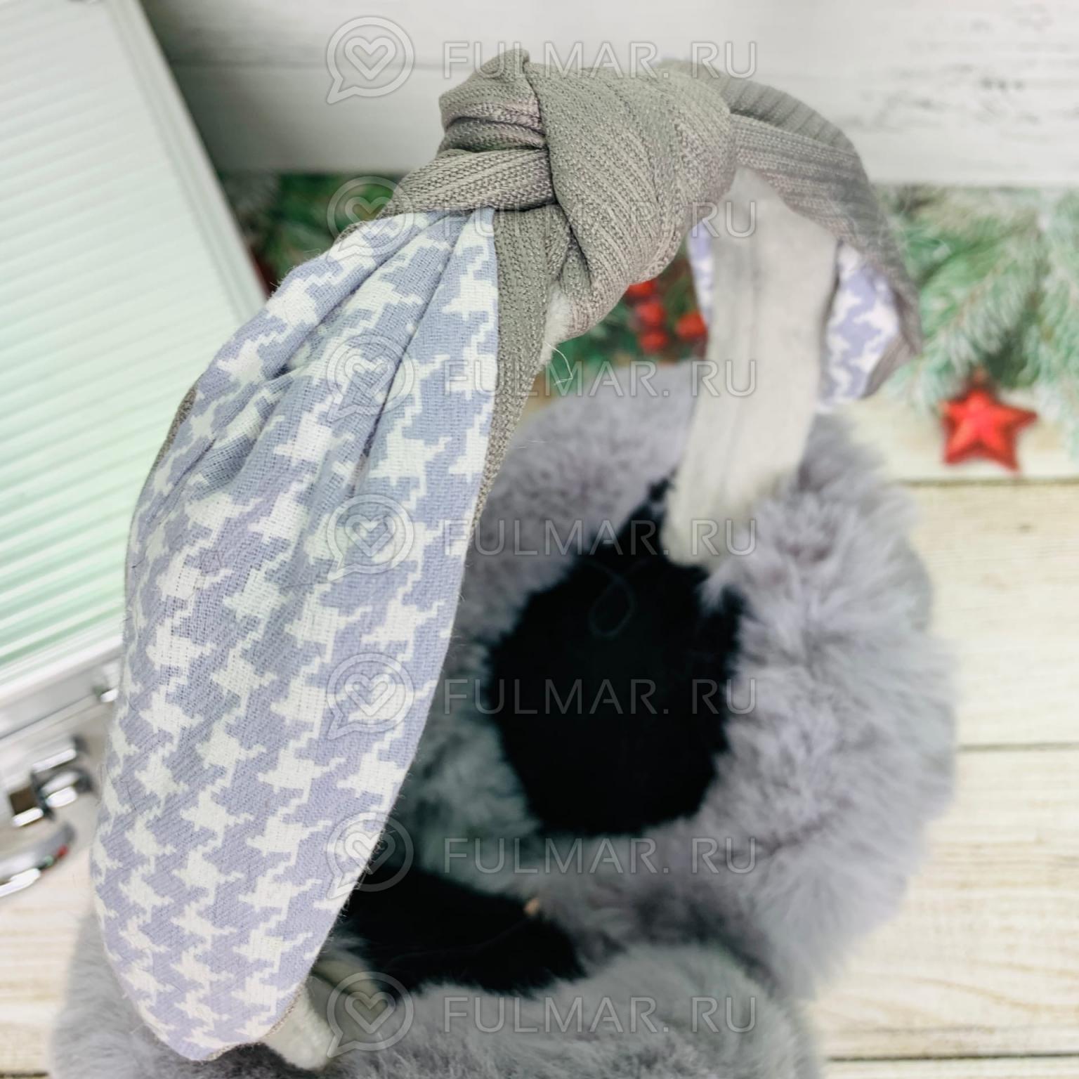 Наушники утеплённые складные Серые с ободком-узлом Lolita