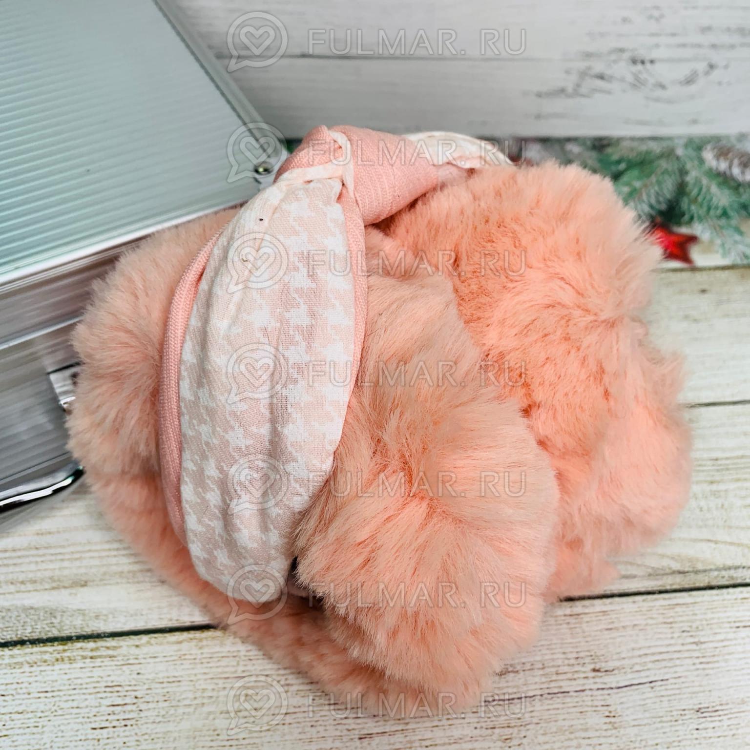 Наушники утеплённые складные Персиковые с ободком-узлом Lolita