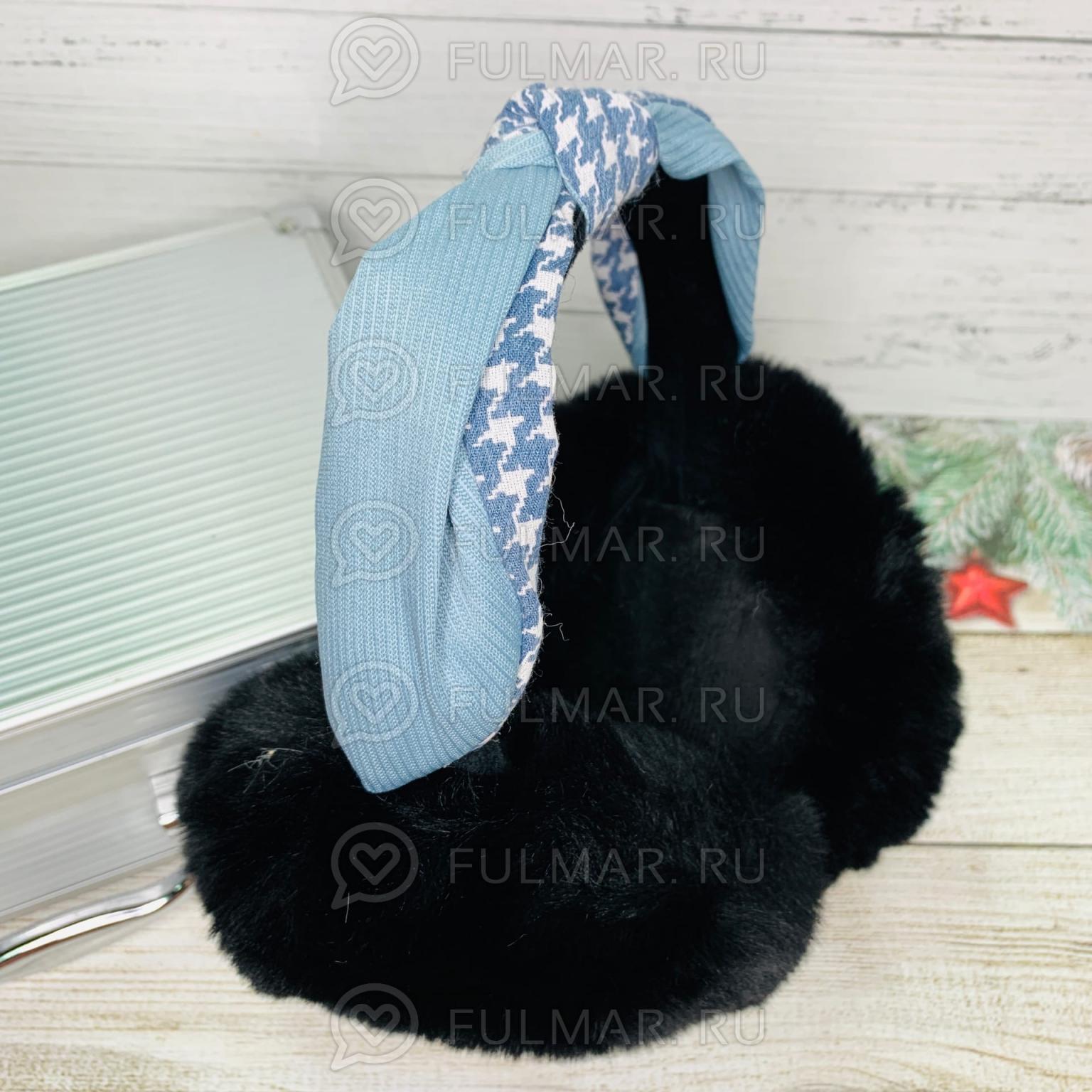 Наушники утеплённые складные с ободком-узлом Lolita цвет: Чёрный-Голубой