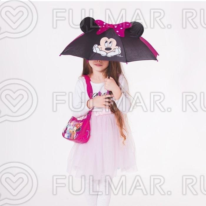 Зонт-трость детский с ушами Минни Маус для девочки  Красно-Малиновый