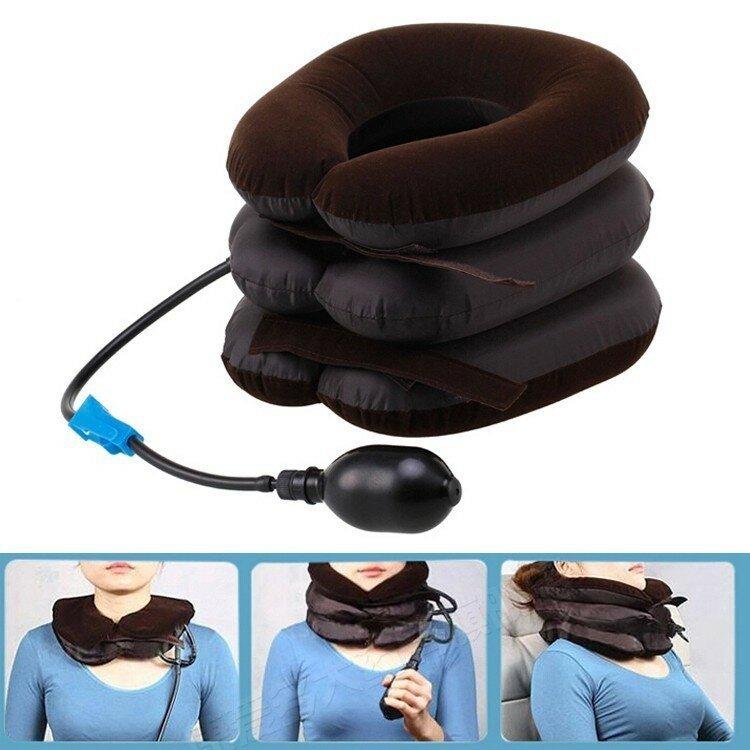 Надувной ортопедический шейный воротник для шеи Коричневый
