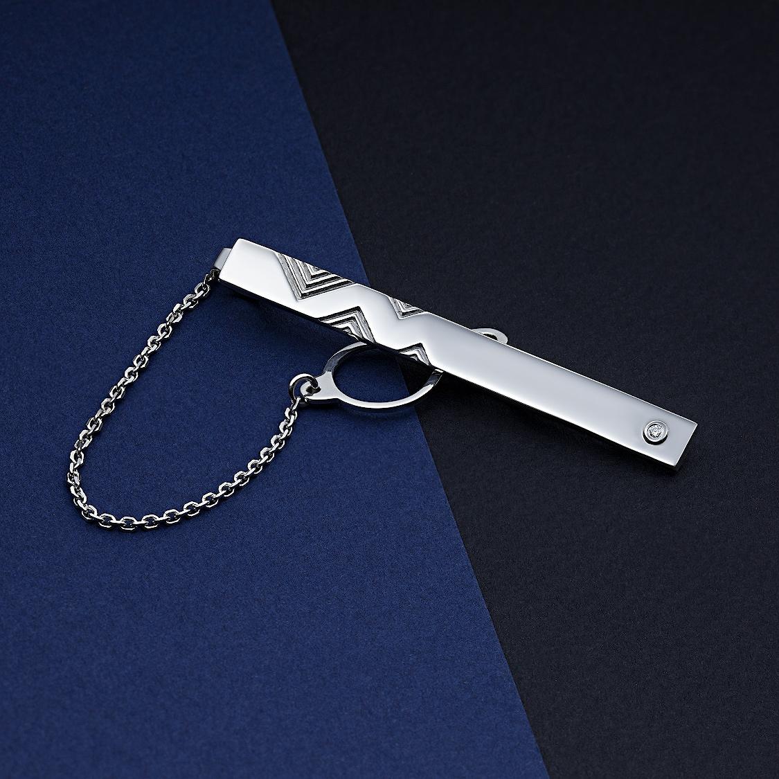 Зажим из серебра с бриллиантом э0601зж02184300