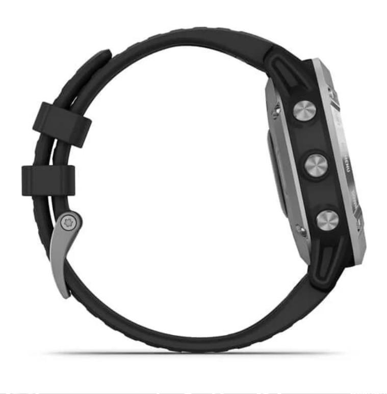 Garmin Fenix 6 Solar серебристый с черным ремешком
