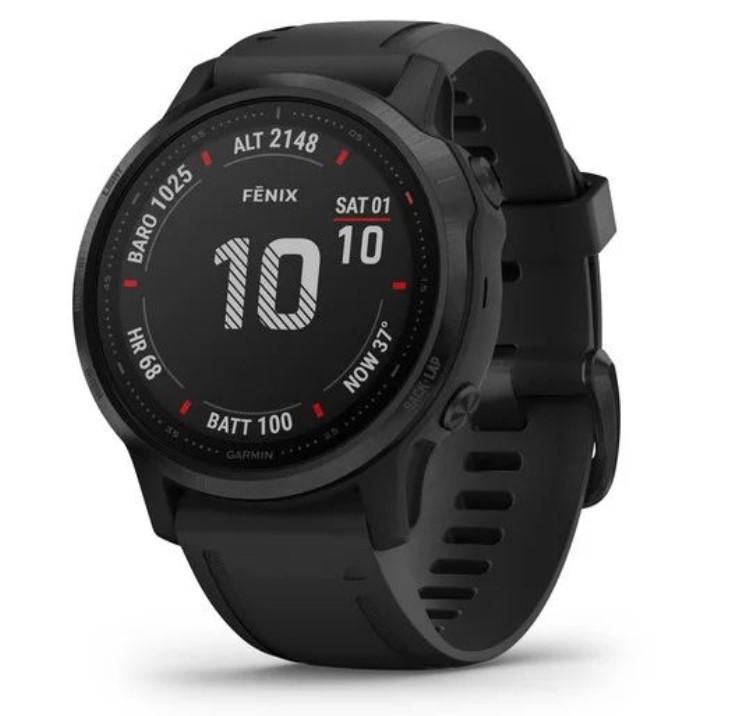 Черные часы Garmin Fenix 6S Sapphire серый DLC с черным ремешком