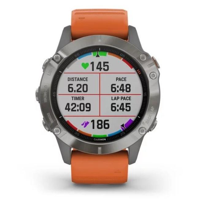 Умные часы Garmin Fenix 6 Sapphire титановый с оранжевым ремешком