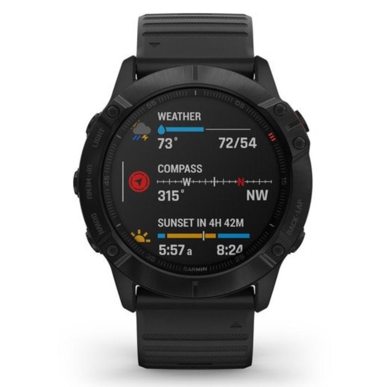 Умные часы Garmin Fenix 6x Pro черный с черным ремешком