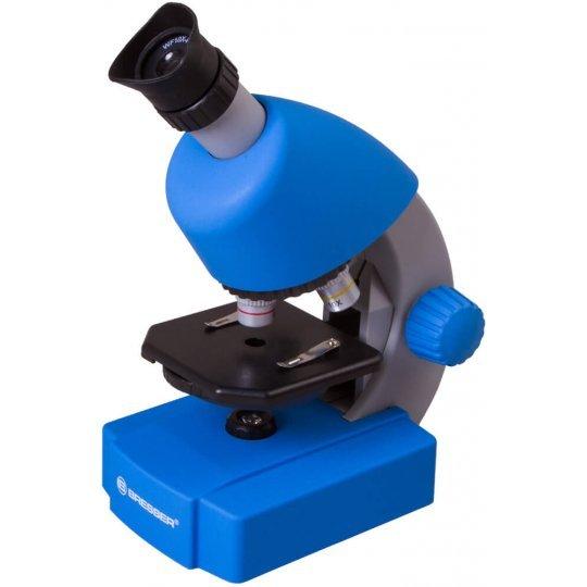Микроскоп BRESSER Junior 40-640x с набором для опытов, синий (+ Книга «Невидимый мир» в подарок!)