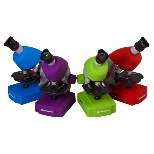 Микроскоп BRESSER Junior 40-640x с набором для опытов, зеленый (+ Книга «Невидимый мир» в подарок!)