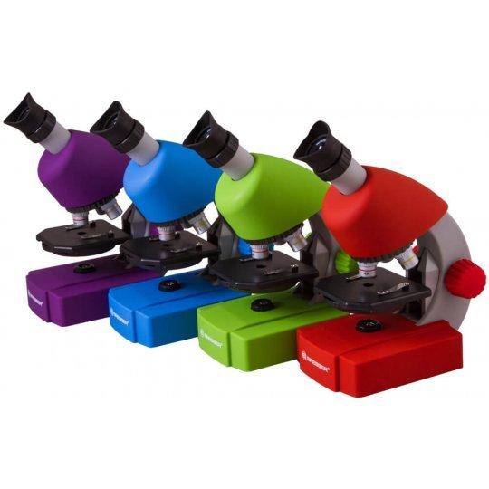 Микроскоп BRESSER Junior 40-640x с набором для опытов, фиолетовый (+ Книга «Невидимый мир» в подарок!)