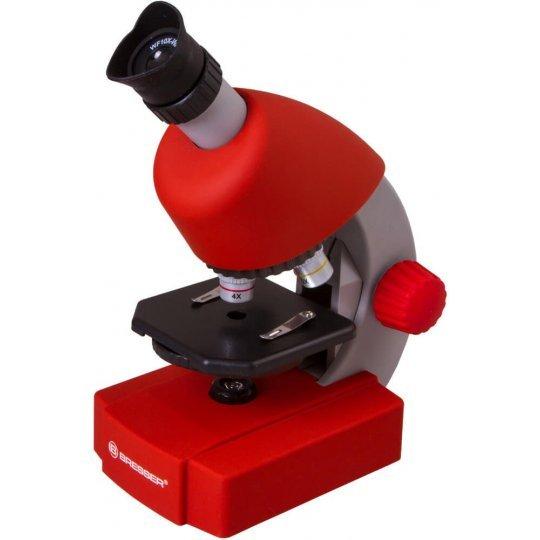 Микроскоп BRESSER Junior 40-640x с набором для опытов, красный (+ Книга «Невидимый мир» в подарок!)