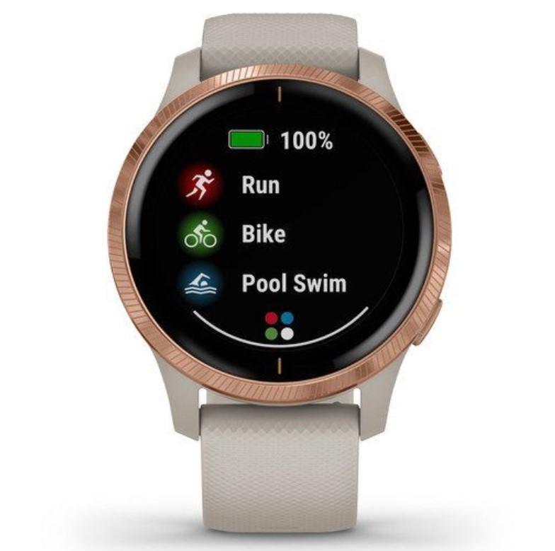 Смарт-часы Garmin Venu песочного цвета с золотистым безелем