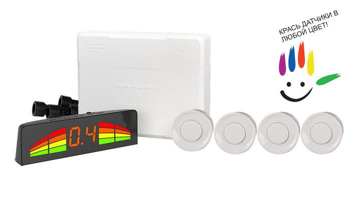 Парктроник модель AAALine LED-14 White (+ Антисептик-спрей для рук в подарок!)