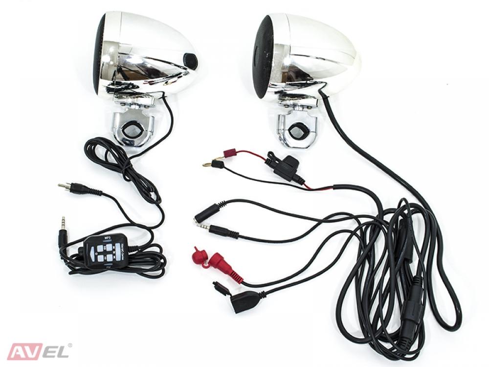 Аудиосистема для мотоцикла AVS350MP (хром) (+ Антисептик-спрей для рук в подарок!)