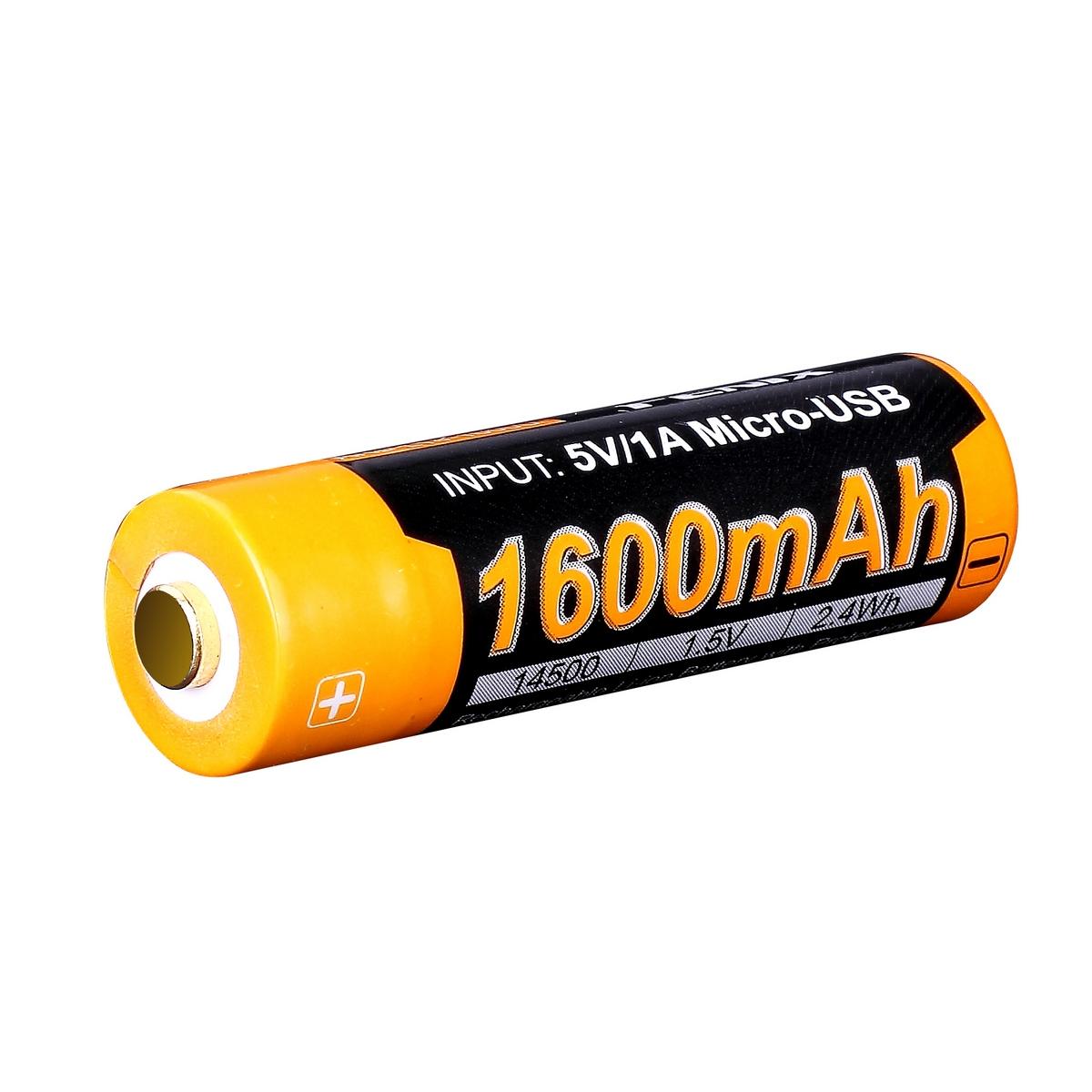 Аккумулятор 14500 Fenix 1600U mAh с разъемом для USB (+ Антисептик-спрей для рук в подарок!)
