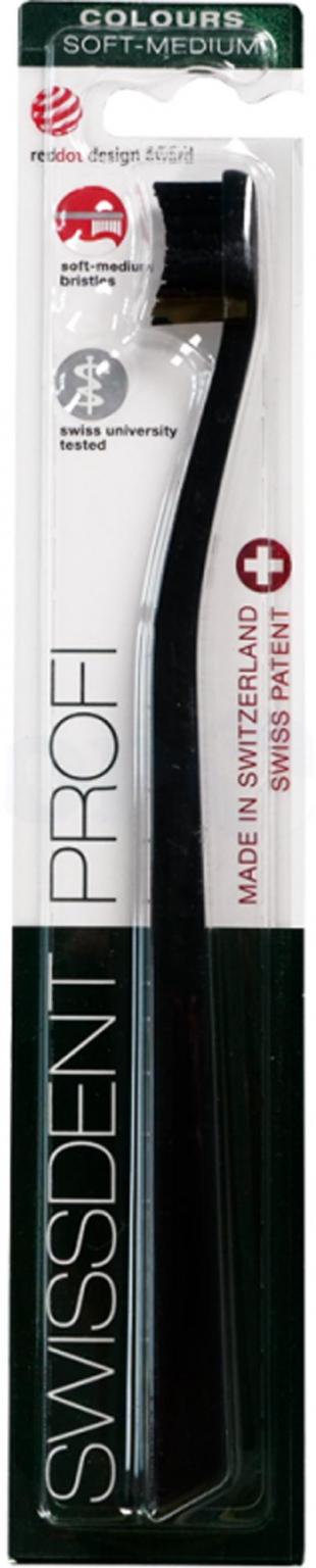Зубная щетка Swissdent Profi Colours Soft-Medium (черная)