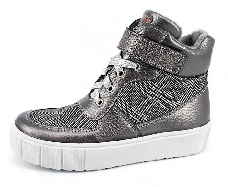 """Модель: м 4-1594 тёмно-серый Ботинки школьные, подростковые, натуральная кожа """"Лель"""""""