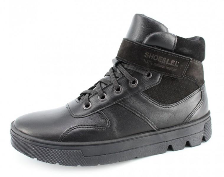 """Модель: м 7-1770 черные Кожаные ботинки подростковые, мужские """"Лель"""""""