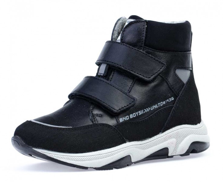 """Модель: 552230-31 черный Ботинки детские для мальчиков, натуральная кожа """"Котофей"""""""