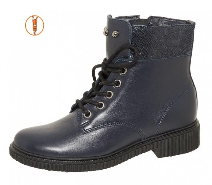 """Модель: м 4-1398 синий Ботинки подростковые, женские натуральная кожа """"Лель"""""""