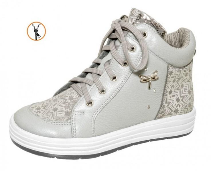 """Модель: м 3-1390 серый Ботинки кожаные для девочек, дошкольные, школьные """"Лель"""""""