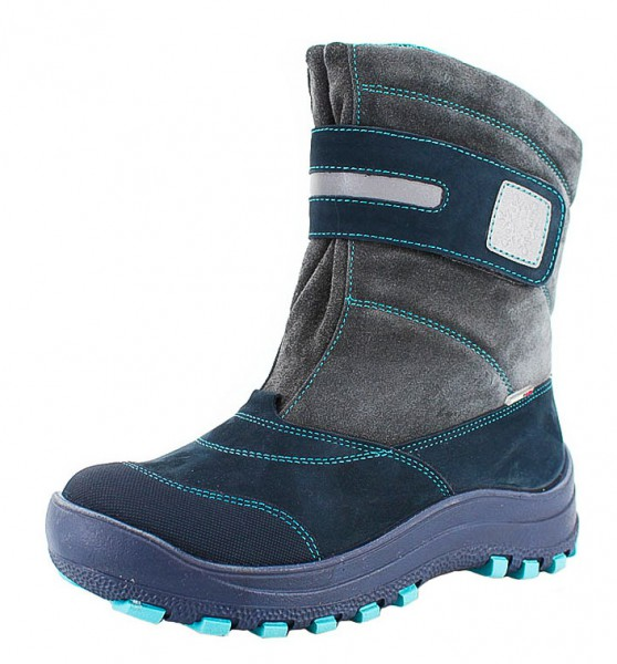 """Модель: м 3-1293 синий + серый Ботинки зимние, нат. мех """"Лель"""""""