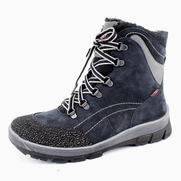 """Модель: м 6-1128 тёмно-синий Ботинки зимние кожаные, натуральный мех """"Лель"""""""