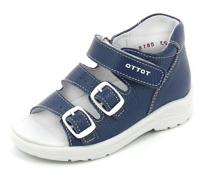 """Модель: 11/2-кп синий Сандалии для мальчиков, кожаные """"Тотта"""""""