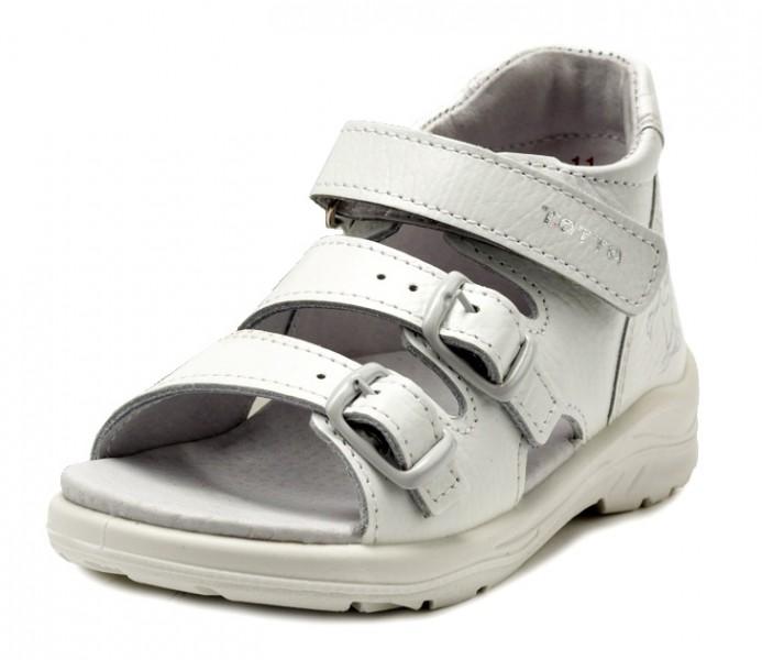 """Модель: 11/2-кп белые Сандалии детские для девочек, кожаные """"Тотта"""""""