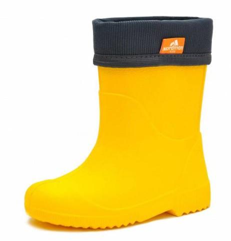 """Модель: 1-106-E06 желтые Сапоги детские ЭВА, с манжетой из вельвета, утеплённые """"Nordman"""""""