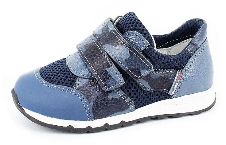 """Модель: м 3-1617 синие Полуботинки детские - кожаные кроссовки """"Лель"""""""