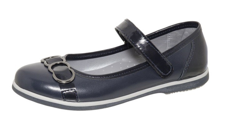 """Модель: м 4-1497 синие Туфли школьные для девочек, натуральная кожа """"Лель"""""""