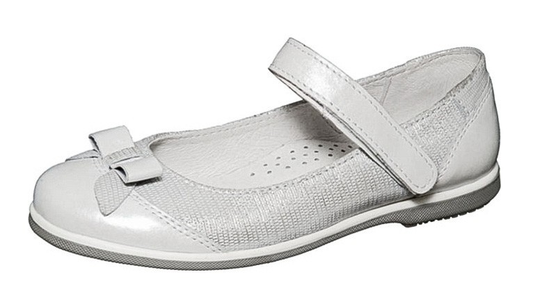 """Модель: м 4-1402 серебряные Туфли для девочек нарядные, натуральная кожа """"Лель"""""""