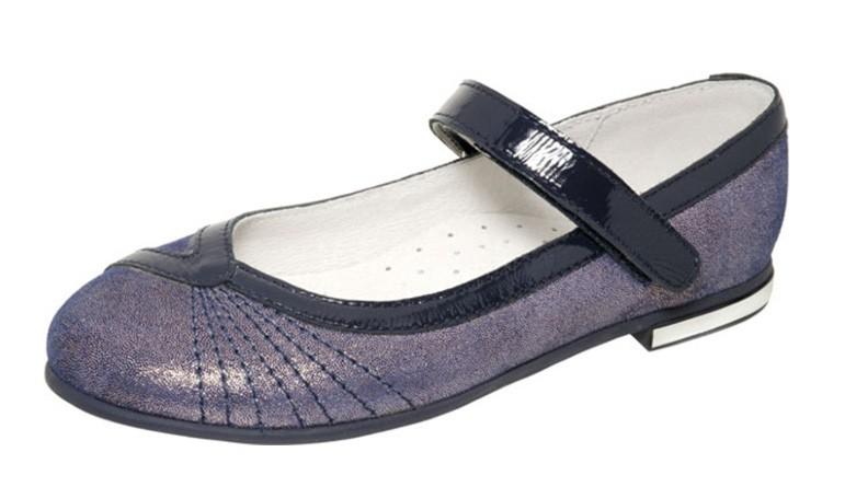 """Модель: м 4-1481 синий Туфли для девочек школьные, натуральная кожа """"Лель"""""""