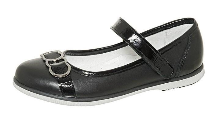 """Модель: м 4-1497 черные Туфли школьные для девочек, натуральная кожа """"Лель"""""""