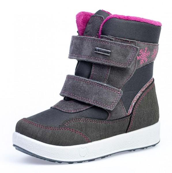 """Модель: 454806-43 серый Ботинки для девочек, мембрана/шерсть """"Котофей"""""""
