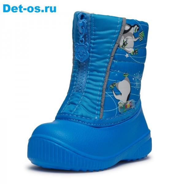 """Модель: 561/02 пингвины на голубом Сапожки дутики детские """"Дюна"""""""