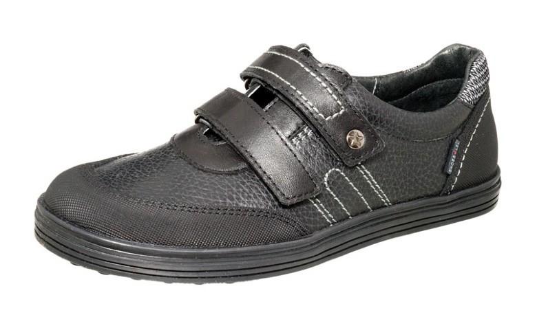 """Модель: м 3-1476 чёрный Полуботинки для мальчиков, натуральная кожа """"Лель"""""""
