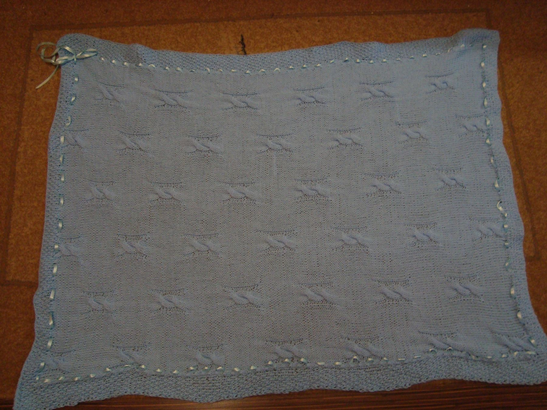 Детское одеяло ручной вязки(голубой).