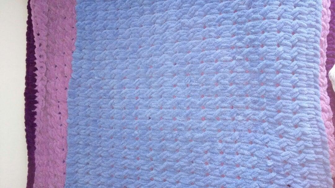 Плюшевый плед ручной работы(синий)