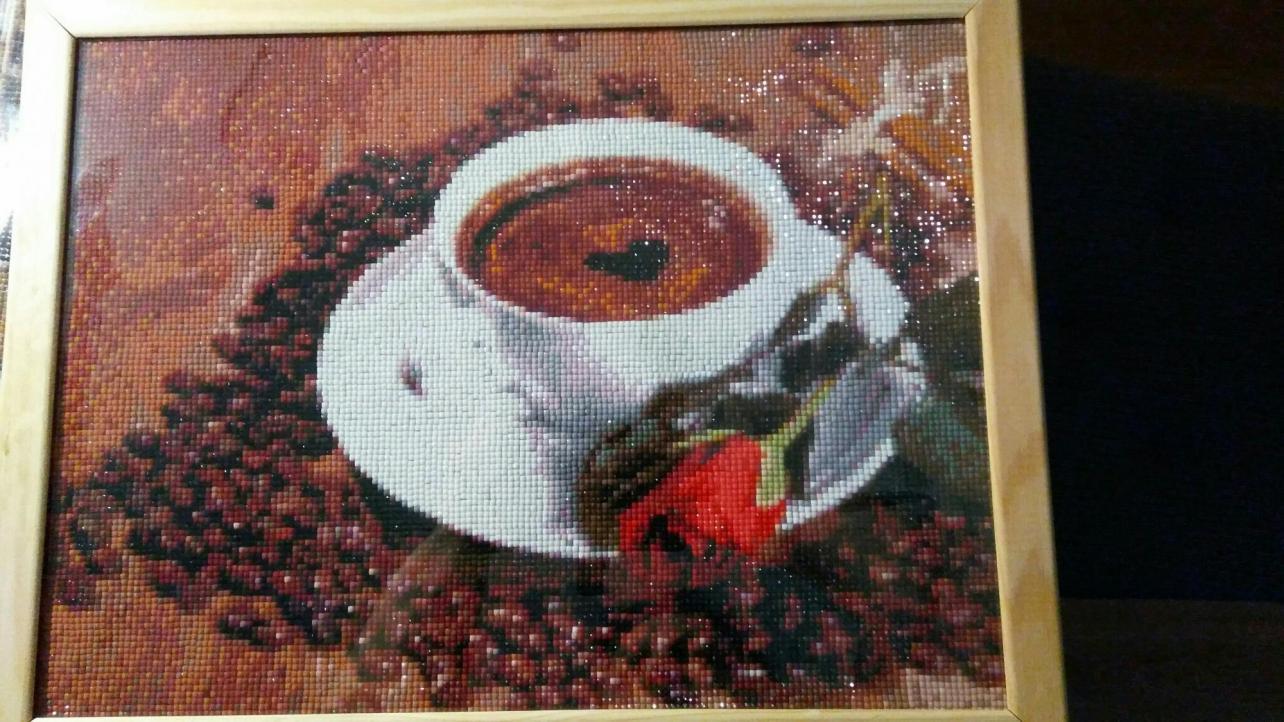 Картина стразами Алмазная вышивка Кофе и роза