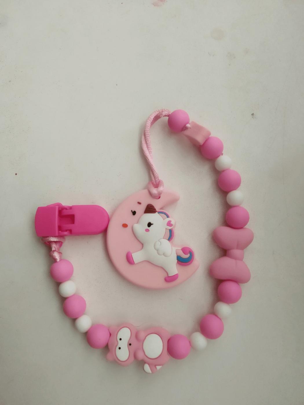 Розовый грызунок-держатель для соски+браслетик грызунок.
