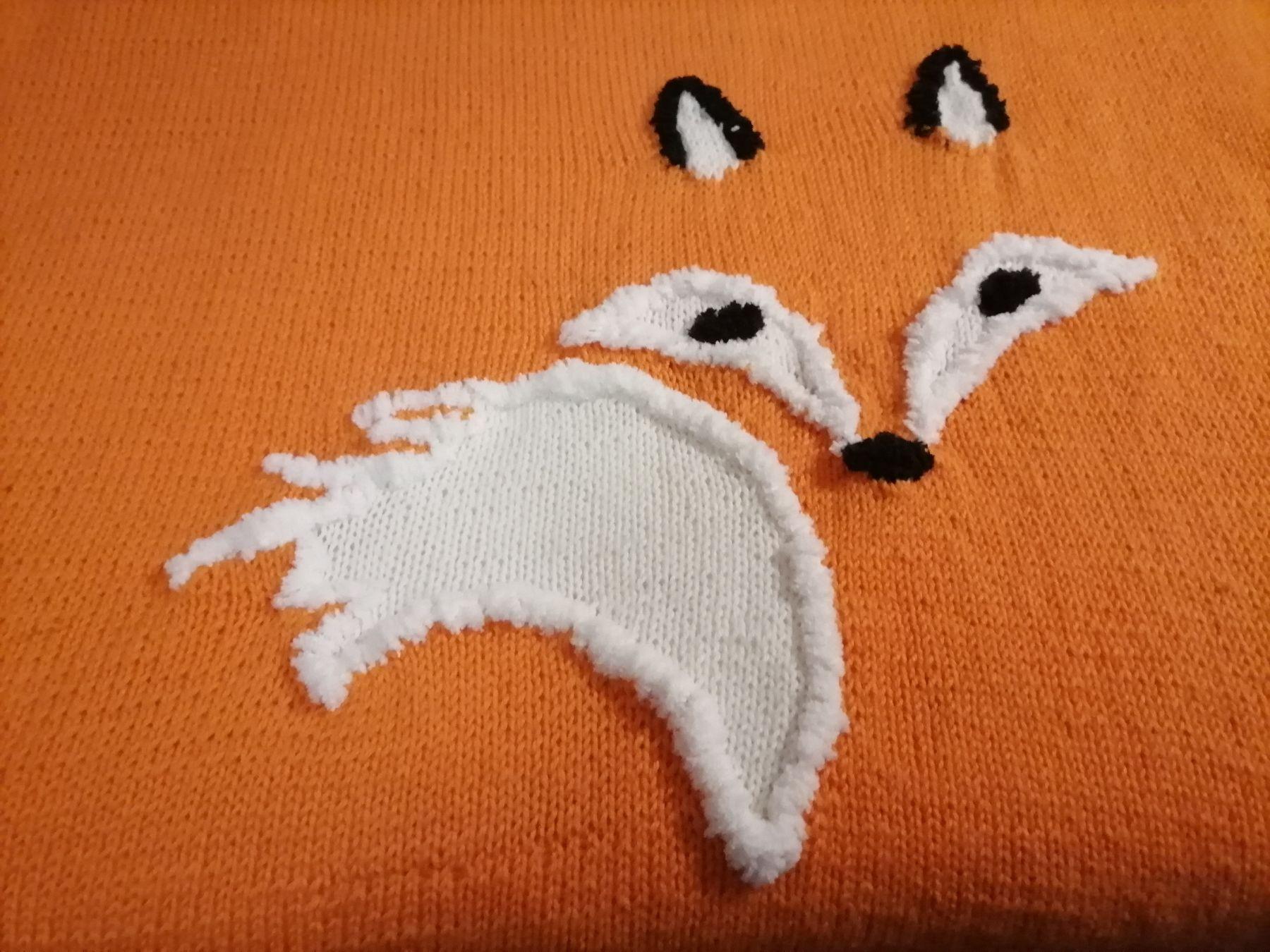 """Вязаный детский плед """"Лисичка"""". Тёплое одеяло для малыша. Плед в подарок малышу. Плед для девочки/мальчика."""