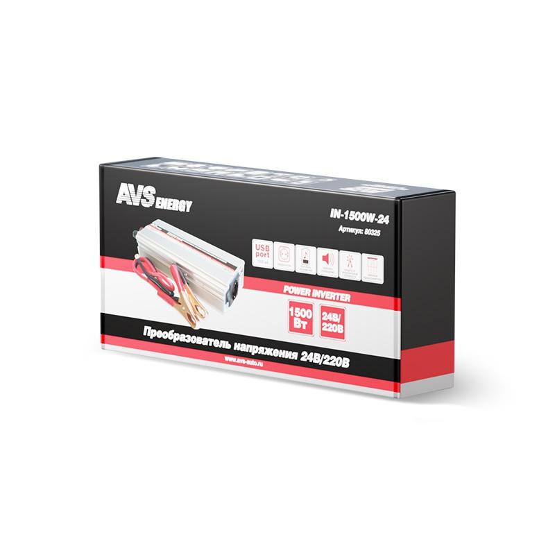 Преобразователь напряжения автомобильный AVS IN-1500W-24 (24В > 220В, 1500 Вт, USB) (+ Антисептик-спрей для рук в пода..