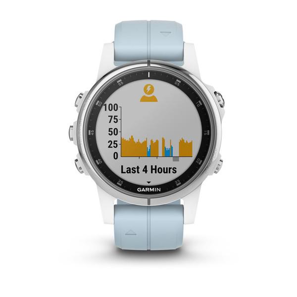 GPS-часы Garmin fenix 5S Plus белый с голубым ремешком