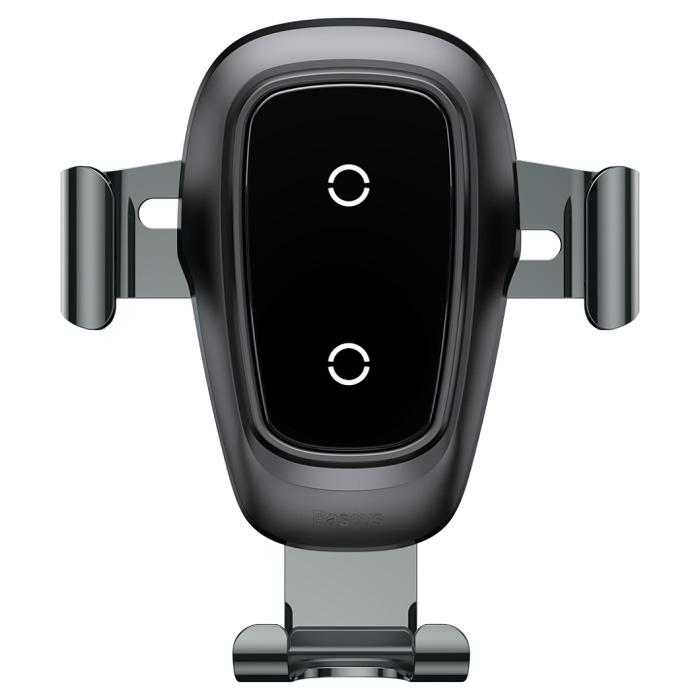 Автомобильный держатель для телефона в дефлектор с беспроводной быстрой зарядкой Baseus Metal Gravity - Черный (WXYL-B..