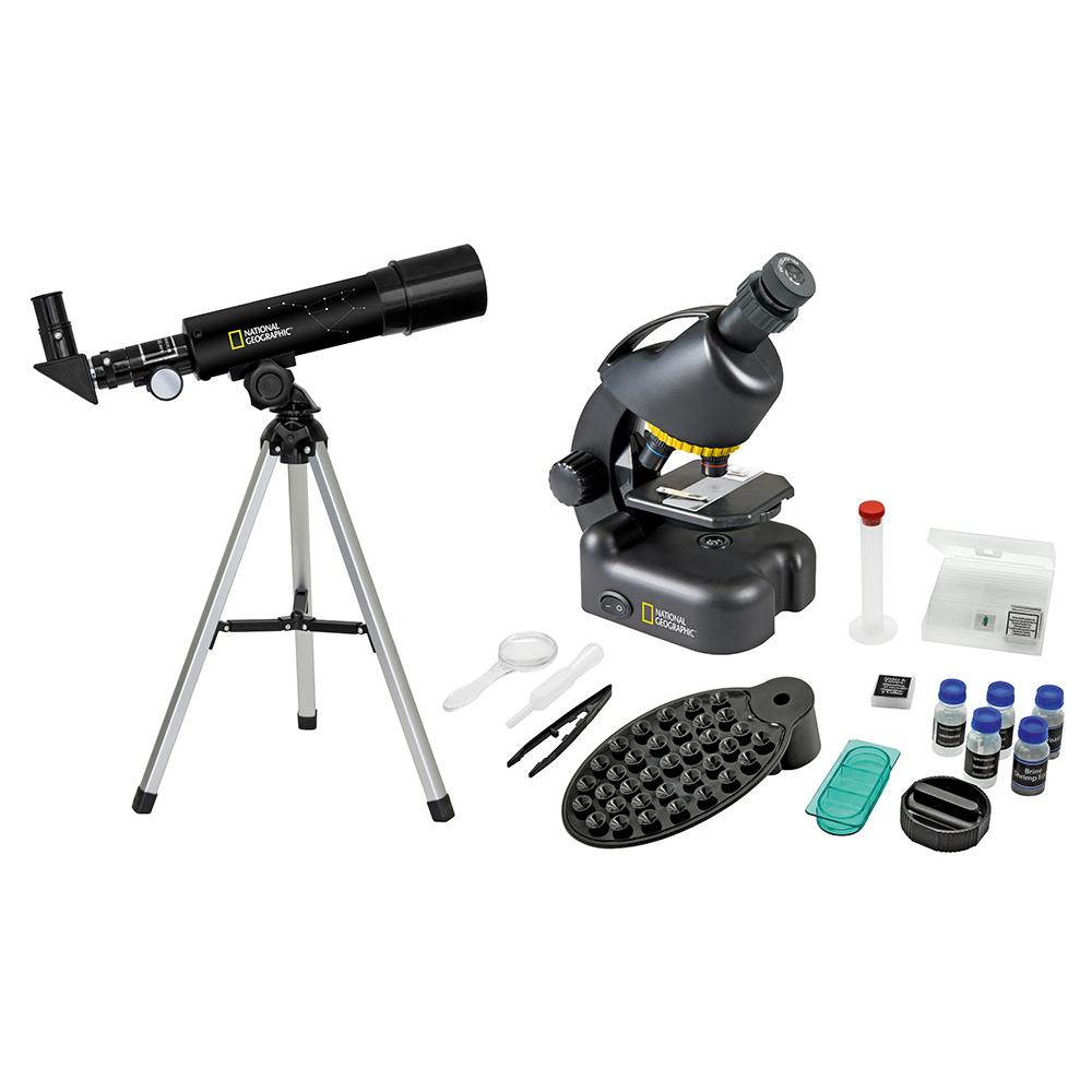 Набор Bresser National Geographic: телескоп 50/360 AZ и микроскоп 40–640x (+ Книга «Космос. Непустая пустота» в подаро..